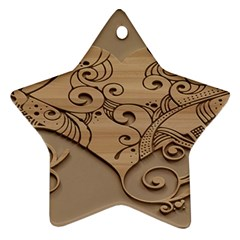 Wood Sculpt Carved Background Ornament (star)