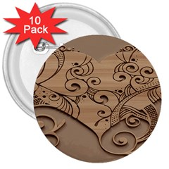 Wood Sculpt Carved Background 3  Buttons (10 Pack)