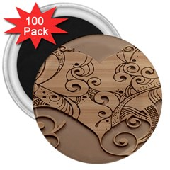 Wood Sculpt Carved Background 3  Magnets (100 Pack)