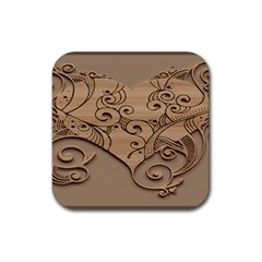 Wood Sculpt Carved Background Rubber Coaster (square)