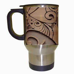 Wood Sculpt Carved Background Travel Mugs (white)