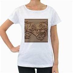 Wood Sculpt Carved Background Women s Loose Fit T Shirt (white)