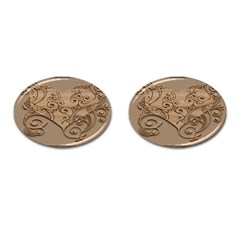 Wood Sculpt Carved Background Cufflinks (oval)