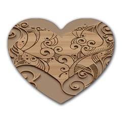 Wood Sculpt Carved Background Heart Mousepads