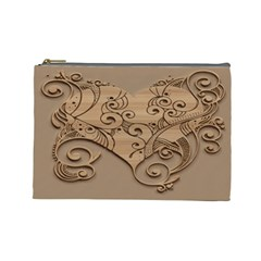 Wood Sculpt Carved Background Cosmetic Bag (large)
