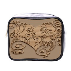 Wood Sculpt Carved Background Mini Toiletries Bags
