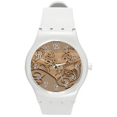 Wood Sculpt Carved Background Round Plastic Sport Watch (m)