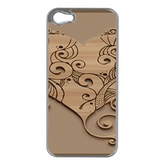 Wood Sculpt Carved Background Apple Iphone 5 Case (silver)