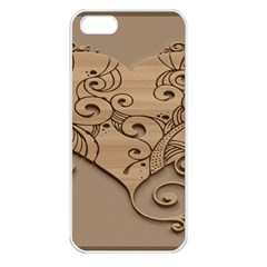Wood Sculpt Carved Background Apple Iphone 5 Seamless Case (white)