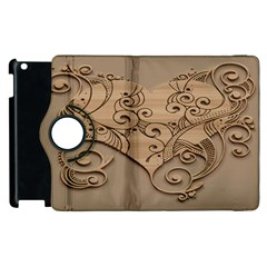 Wood Sculpt Carved Background Apple Ipad 3/4 Flip 360 Case