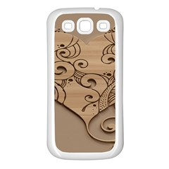 Wood Sculpt Carved Background Samsung Galaxy S3 Back Case (white)