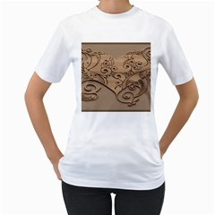 Wood Sculpt Carved Background Women s T Shirt (white)