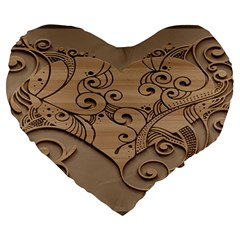 Wood Sculpt Carved Background Large 19  Premium Flano Heart Shape Cushions
