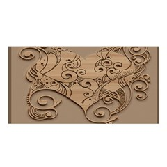 Wood Sculpt Carved Background Satin Shawl