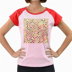 Background Multicolored Star Women s Cap Sleeve T Shirt