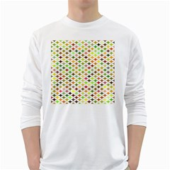 Background Multicolored Star White Long Sleeve T Shirts