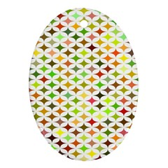 Background Multicolored Star Oval Ornament (two Sides)