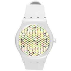 Background Multicolored Star Round Plastic Sport Watch (m)