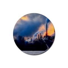Warming Global Environment Nature Rubber Round Coaster (4 Pack)