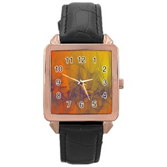 Fiesta Colorful Background Rose Gold Leather Watch