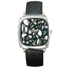 Fuzzy Abstract Art Urban Fragments Square Metal Watch