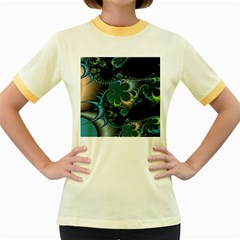 Fractal Art Artwork Digital Art Women s Fitted Ringer T Shirts