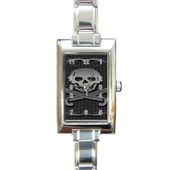 Skull Metal Background Carved Rectangle Italian Charm Watch
