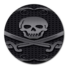 Skull Metal Background Carved Round Mousepads