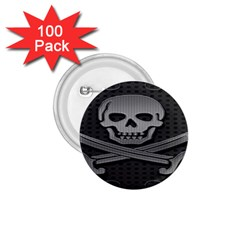 Skull Metal Background Carved 1 75  Buttons (100 Pack)