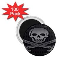 Skull Metal Background Carved 1 75  Magnets (100 Pack)