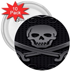 Skull Metal Background Carved 3  Buttons (10 Pack)