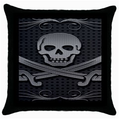 Skull Metal Background Carved Throw Pillow Case (black)
