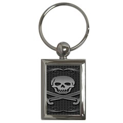 Skull Metal Background Carved Key Chains (rectangle)