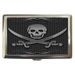 Skull Metal Background Carved Cigarette Money Cases