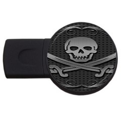 Skull Metal Background Carved Usb Flash Drive Round (2 Gb)