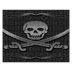 Skull Metal Background Carved Rectangular Jigsaw Puzzl