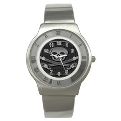 Skull Metal Background Carved Stainless Steel Watch