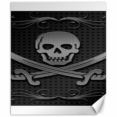 Skull Metal Background Carved Canvas 20  X 24