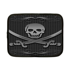 Skull Metal Background Carved Netbook Case (small)