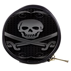 Skull Metal Background Carved Mini Makeup Bags
