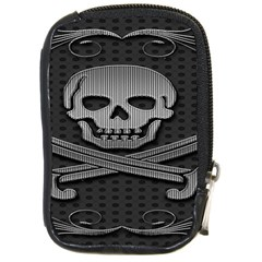 Skull Metal Background Carved Compact Camera Cases