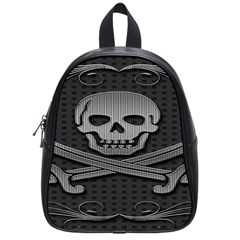 Skull Metal Background Carved School Bag (small)