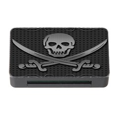 Skull Metal Background Carved Memory Card Reader With Cf