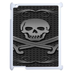 Skull Metal Background Carved Apple Ipad 2 Case (white)