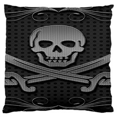 Skull Metal Background Carved Large Cushion Case (two Sides)