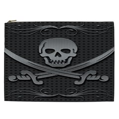 Skull Metal Background Carved Cosmetic Bag (xxl)