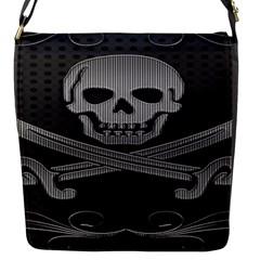 Skull Metal Background Carved Flap Messenger Bag (s)