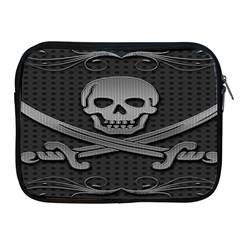 Skull Metal Background Carved Apple Ipad 2/3/4 Zipper Cases