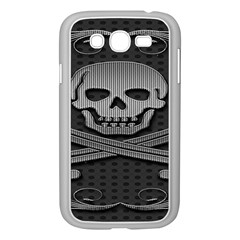 Skull Metal Background Carved Samsung Galaxy Grand Duos I9082 Case (white)