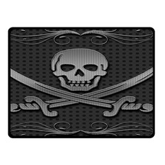 Skull Metal Background Carved Double Sided Fleece Blanket (small)